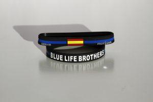 pulsera servir y proteger linea azul policía silicona